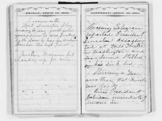 Susan B. Anthony journal entries from April 14-15, 1865, regarding the assassination of Abraham Lincoln.