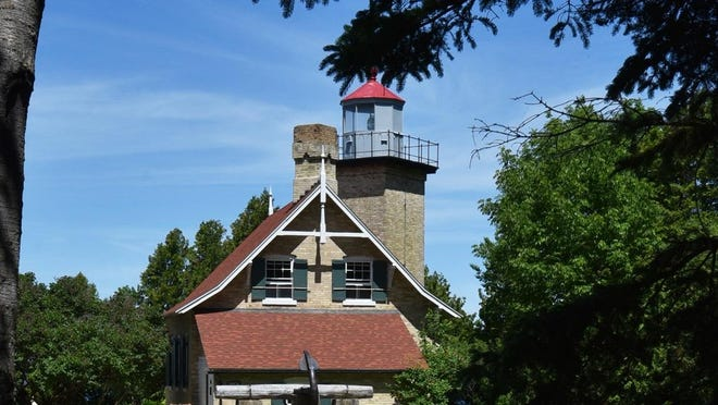 Eagle Bluff Lighthouse at Peninsula State Park is near the Eagle Bluff  Lookout area.