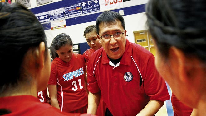 Coach Larenson Henderson, seen here talking with his Shiprock team prior to a game against Piedra Vista High on  Jan. 8, 2013, will now coach the lady Scorpions.