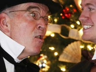 """John McDonald is confronted by Leah Sugerman in the 2011 Roxy Regional Theatre production """"A Christmas Carol."""""""