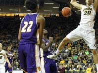 Iowa's Jarrod Uthoff dunks the ball during the Hawkeyes' game against Western Illinois at Carver-Hawkeye Arena on Monday.