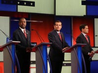 Fox News Channel Republican presidential primary  debate with Ohio Gov. John Kasich, former Florida Gov. Jeb Bush, Florida Sen. Marco Rubio, Texas Sen. Ted Cruz, retired neurosurgeon Ben Carson, New Jersey Gov. Chris Christie and Kentucky Sen. Rand Paul at the Iowa Events Center in Des Moines, Iowa, Thursday Jan. 28, 2016.