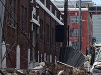 Wall collapse at 8th Avenue and Demonbreun in downtown Nashville on Feb. 4, 2016.