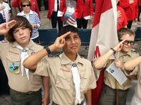 Morristown High School buglers, Conor Lenahan, l, and Dylan Quattro play Taps at the close of the Morristown and Morris Twp. Memorial Day parade and ceremony.  May 30, 2016, Morristown, NJ