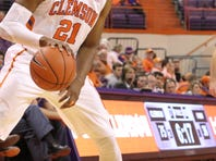 Clemson's Demarcus Harrison (21) goes up for a layup against Florida A&M Friday night in Littlejohn, Coliseum, November 14th, 2014.