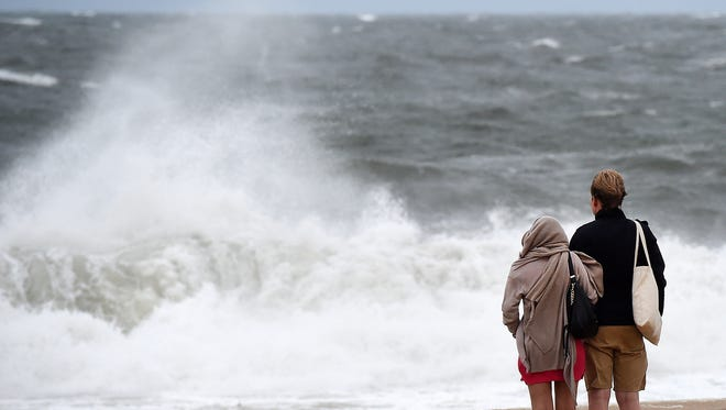 Wind, rain and rough seas from a developing coastal storm left few visitors on the beach and boardwalk in Rehoboth Beach Wednesday afternoon.