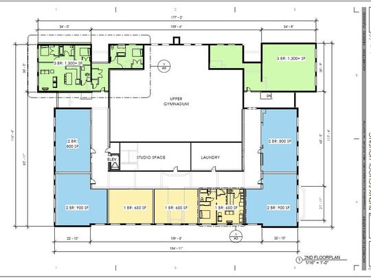 A draft floor plan for the Phenix school shows how apartments will be laid out on the second floor.
