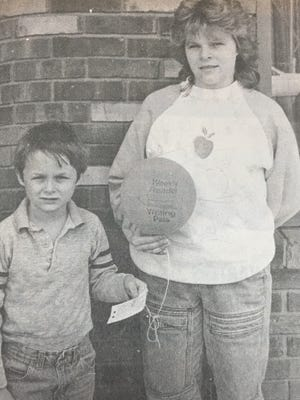 This balloon, held by 12 year old Kara Duncan of Waverly, was found by her and her brother, Timmy in March 1988. The balloon was released by Greg Goodnight of East End School in Little Rock, Arkansas as part of a Weekly Reader Writing Pals program, and managed to make it all the way to Waverly.