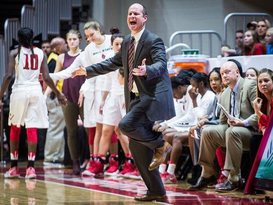 Head coach Brady Sallee reacts during Ball State's