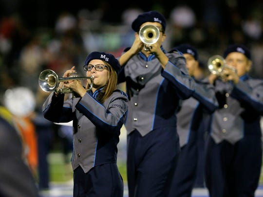 Middletown High School South's marching band performs their halftime show during the Red Bank Catholic and Middletown South football game at Middletown High School South in Middletown, NJ Friday, September 8, 2017.