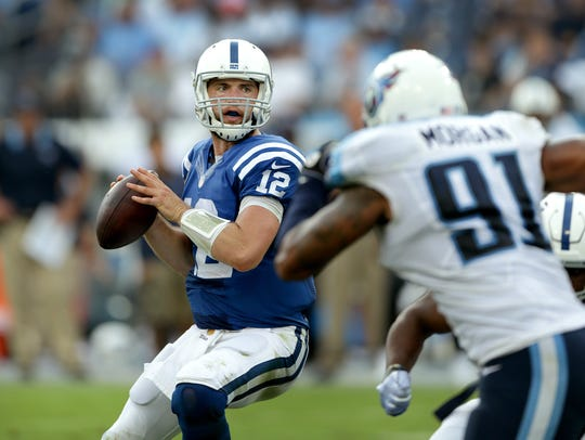 Bruised and battered, Andrew Luck led the Colts to