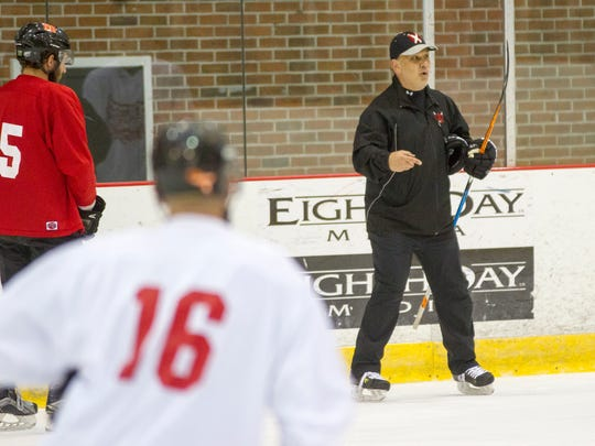 Prowlers head coach Joe Pace Sr. gives directions to the team during a practice Oct. 31. The Prowlers will play their first game against the Danville Dashers Friday night at the David S. Palmer Arena in Danville.