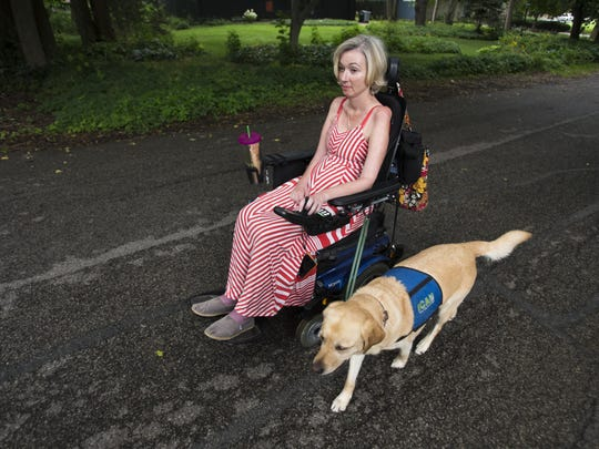 In 2014, Jenni Berebitsky took evening trips around her neighborhood with an aid dog, Piper.
