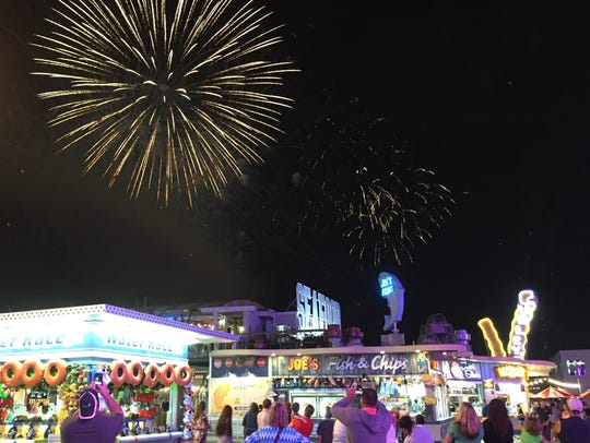 Fireworks over the Wildwood boardwalk can be seen in