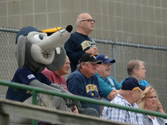 Ribbie joins fans to watch a game on John Cate Field against the Springfield Sliders at McBride Stadium during the 2014 season.
