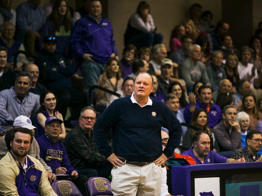 Christian Brothers High School head basketball coach Bubba Luckett looks at a referee following a call against one of his players during the state quarterfinals TSSAA Division 2 Class 2AA game against Montgomery Bell Academy at CBHS on Saturday.