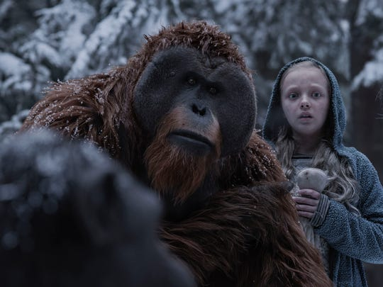 "Karin Konoval, left, and Amiah Miller star in ""War for the Planet of the Apes."""