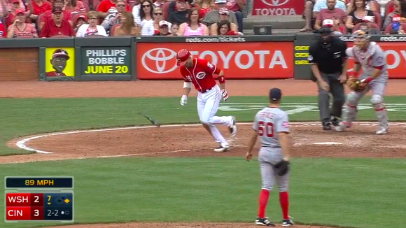A screenshot from Joey Votto's three-ball walk in Sunday's 8-2 victory over the Nationals