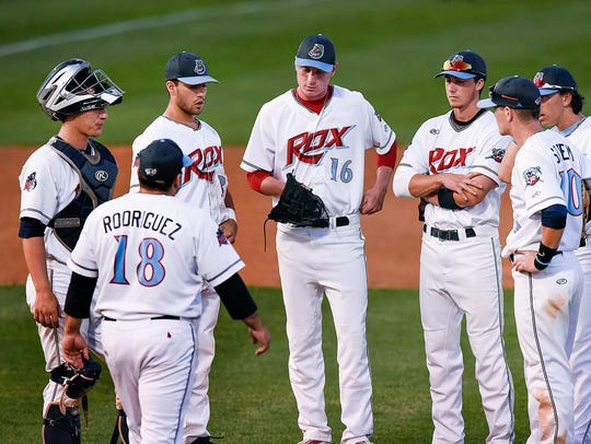 St. Cloud Rox manager Augie Rodriguez,18, walks out