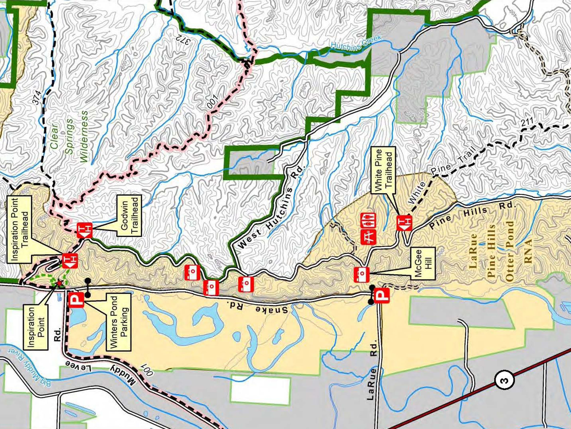 Map of LaRue Pine Hills area
