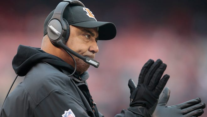 Cincinnati Bengals head coach Marvin Lewis encourages the team in the fourth quarter during the Week 14 NFL game between the Cincinnati Bengals and the Cleveland Browns, Sunday, Dec. 11, 2016, at FirstEnergy Stadium in Cleveland. Cincinnati won 23-10.