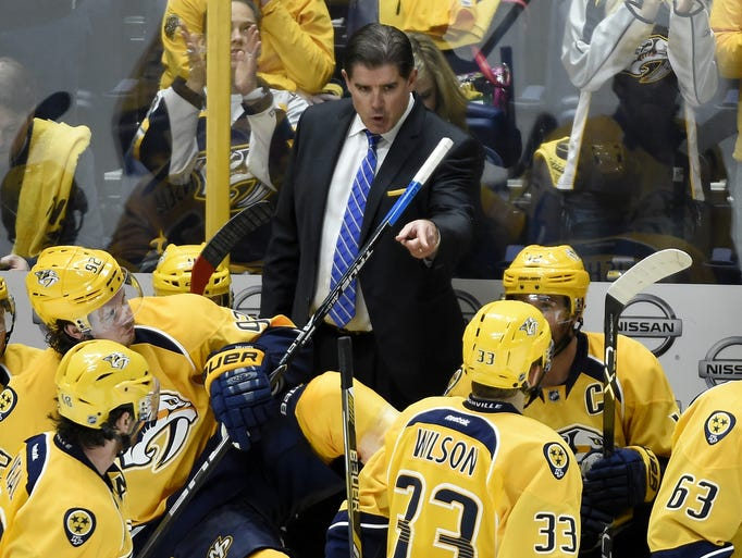 Predators Head Coach Peter Laviolette gives instructions