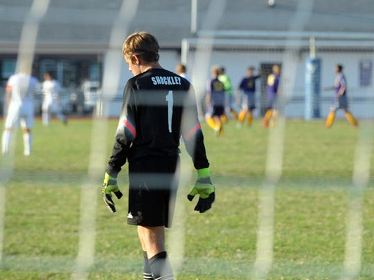Decatur goalkeeper Noah Shockley breathes a sigh of