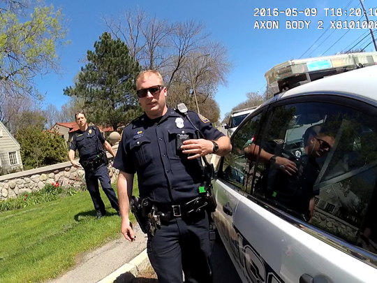 (Right) Officer Ben Hoag, recorded by a Brighton Police Department body camera, following the arrest of Charles Campany on Elmwood Avenue in Brighton NY on May 9, 2016.