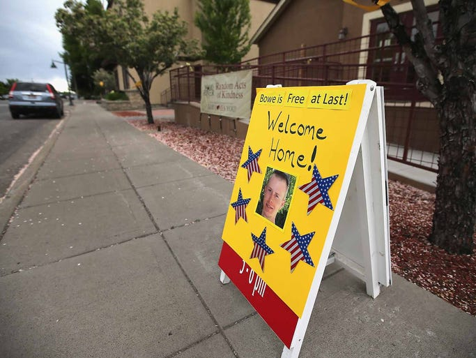 A sign of support for U.S. Army Sgt. Bowe Bergdahl is displayed in his home town on Main Street on June 2 in Hailey, Idaho. Bergdahl was released from captivity on May 31 after being captured by Taliban forces in Afghanistan in 2009.