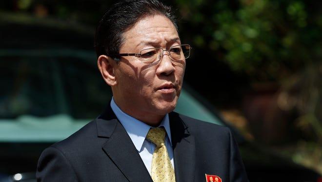 In this Monday, Feb 20, 2017 photo, North Korea's Ambassador to Malaysia Kang Chol speaks to the media outside the North Korean Embassy in Kuala Lumpur, Malaysia.