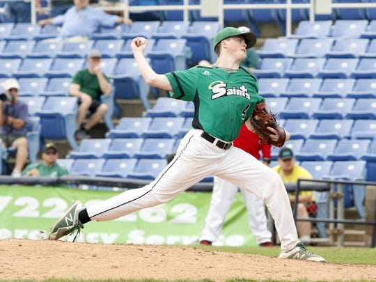 Leo Gallagher delivers a pitch for Seton Catholic Central