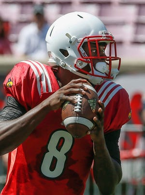 Louisville's Lamar Jackson's  put up video game numbers in the spring game. Eight touchdowns with 519 yards threw the air. April 16, 2016