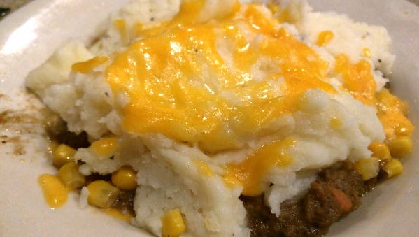 Sandy's Grille's shepherd's pie was a savory ground beef and carrot layer topped with corn and dollops of creamy mashed potatoes and a layer of melted cheddar.