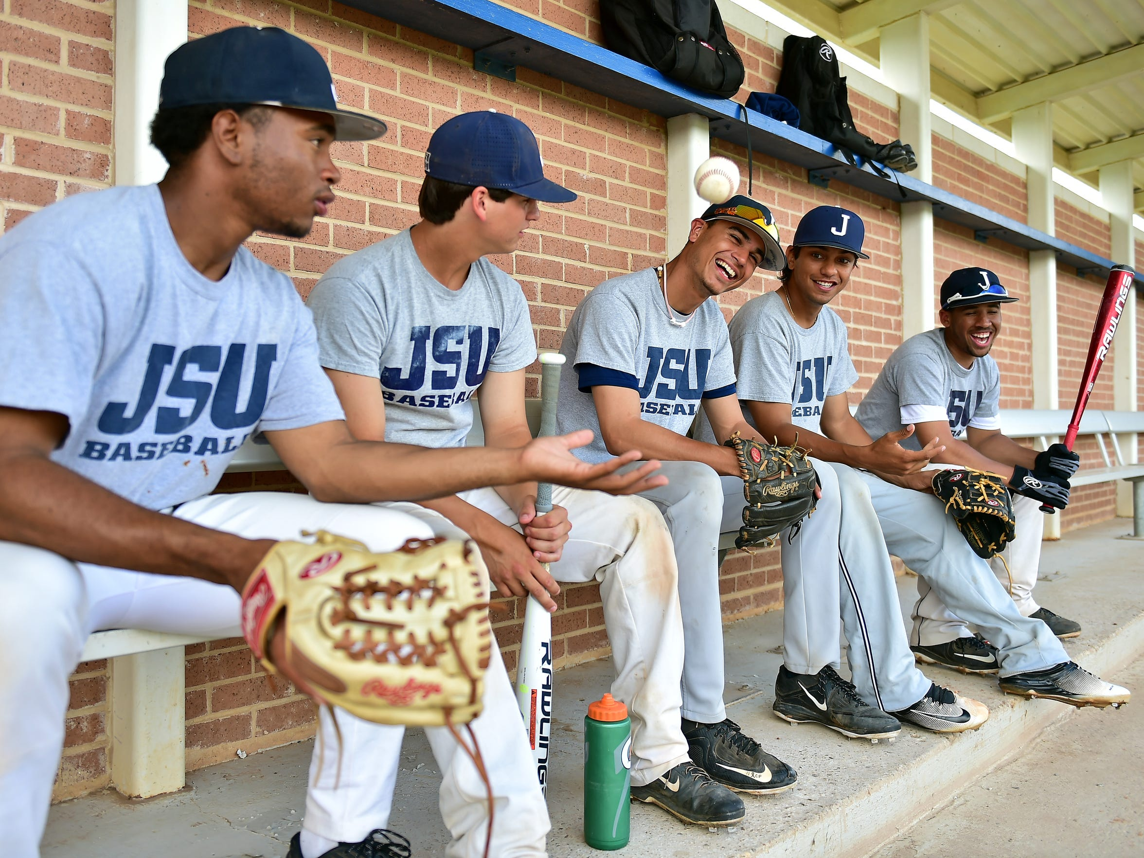 Jackson State baseball players Jashanno Sweeting, from left, Carlos Diaz, Rene Colon, Miguel Yrigoyen and Vincent Anthonia are each at different points in their transition to America.