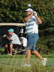 Brian Green tees off on the third hole at Kampen Saturday