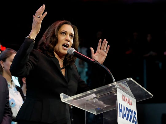 Then attorney general, Kamala Harris speaks to supporters at a election night rally Tuesday, Nov. 8, 2016, in Los Angeles. (AP Photo/Chris Carlson)