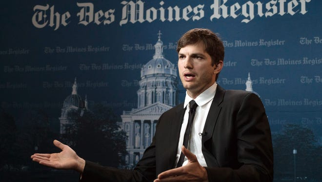 Actor and native Iowan Ashton Kutcher talks about his philanthropic work April 8, 2017, before he received the Robert D. Ray Award later in the evening.