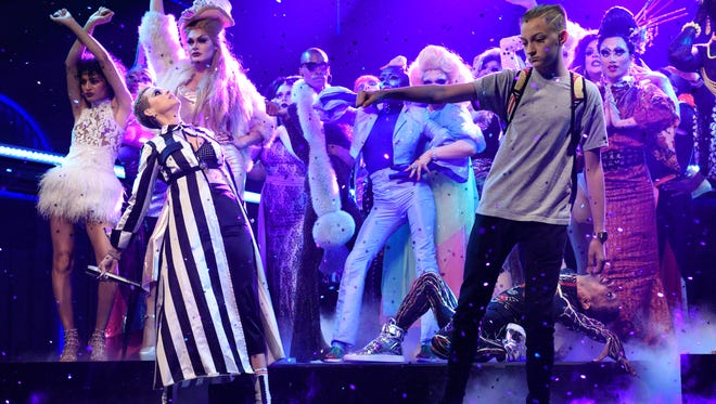 Russell Horning (aka 'Backpack Kid') dances on at Studio 8H with Katy Perry.