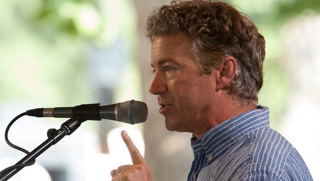 Sen. Rand Paul addresses the Fancy Farm Picnic.
