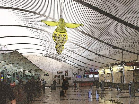 """Bounnak Thammavong's """"Birds of a Feather"""" sculpture,"""