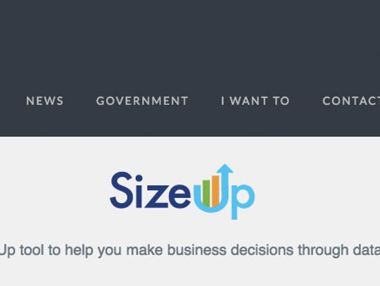 Pictured are screenshots of SizeUp -- a new online
