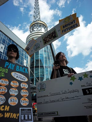 More than 900 nonprofits participated in the annual Big Payback, a community-wide online day of giving. Many got in on the fun at the Big Payback rally at the plaza in front of Bridgestone Arena to generate support. Festivities included crazy costumes, bright signs and fun games on Wednesday, May 2, 2018, in Nashville, Tenn.