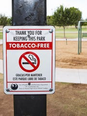 This is a sign installed at El Oso Park in Phoenix, marking a tobacco-free zone. Students from Trevor G. Browne High School in the STAND Youth Coalition urged the Phoenix Parks and Recreation Board to put up the signs.