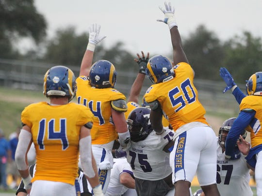 Angelo State special teams players try to block a field-goal attempt by Tarleton State during the Texans' 30-24 Lone Star Conference win at LeGrand Stadium at 1st Community Credit Union Field on Saturday, Sept. 16, 2017.
