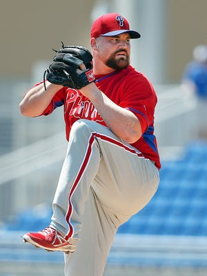 Phillies starting pitcher Sean O'Sullivan (61) throws a pitch during a spring training baseball game March 31 against the Toronto Blue Jays at Florida Auto Exchange Park. Credit: Reinhold Matay-USA TODAY Sports