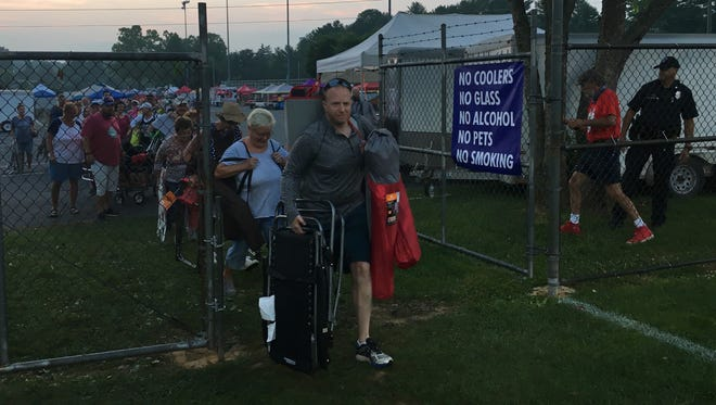 "Fred Shaner is first through the gate during Wednesday's ""Chair Dash"" at Gypsy Hill Park's John Moxie Stadium."