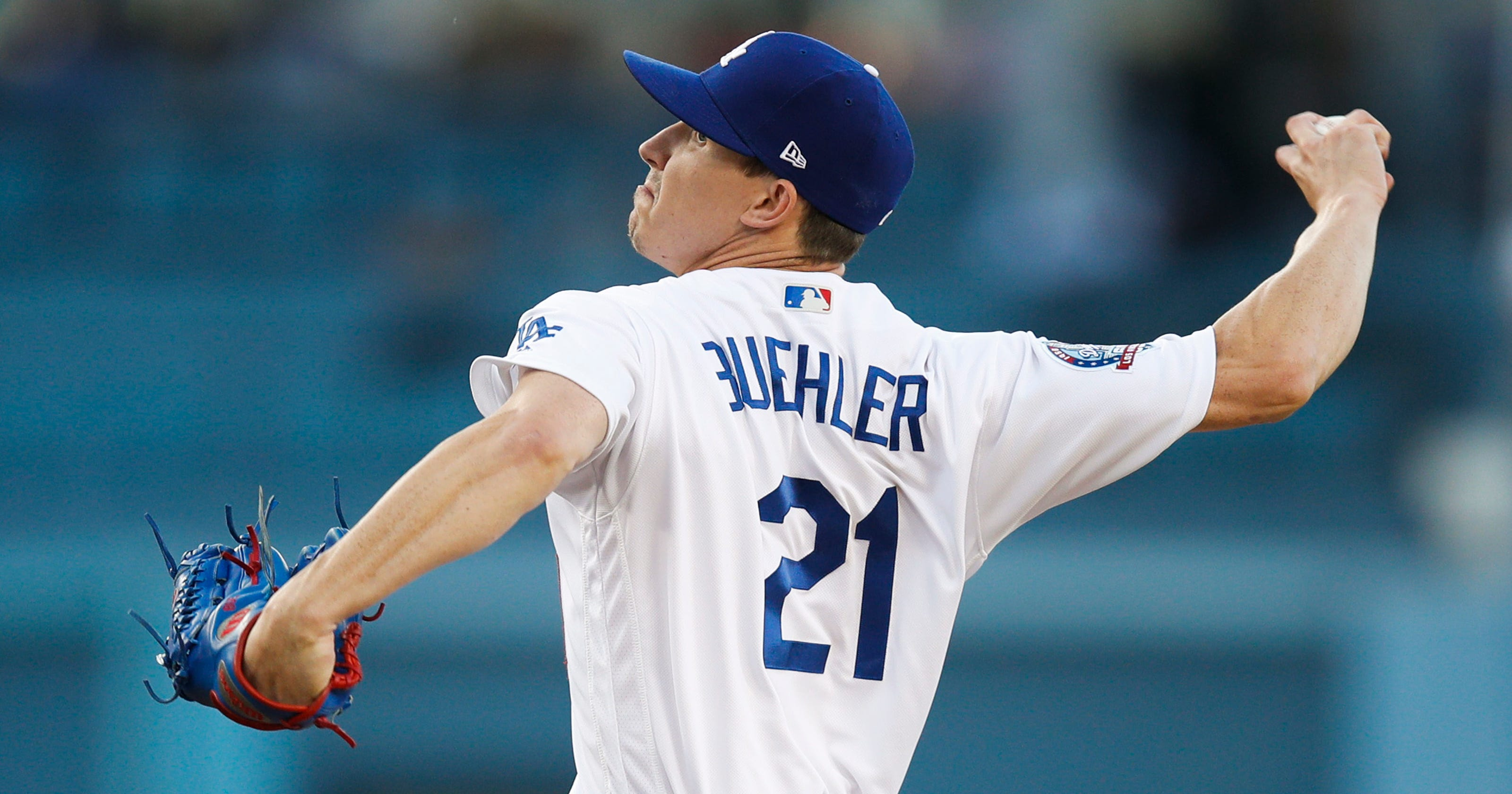 hot sale online 664d8 a54e1 Dodgers' Walker Buehler pulled from start with rib soreness