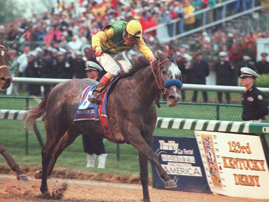 Silver Charm charges toward the finish in the 123rd Kentucky Derby in 1997.