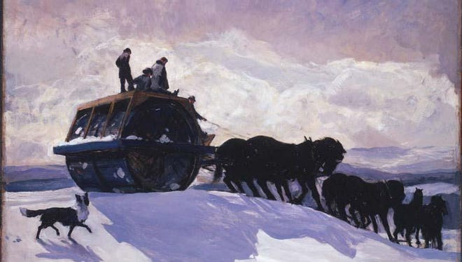 A painting of a snowroller at work in the Phillips Colleciton in Washington, D.C.