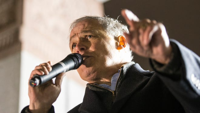 Washington State Governor Jay Inslee (D) speaks during a demonstration on January 29, 2017 in Seattle.